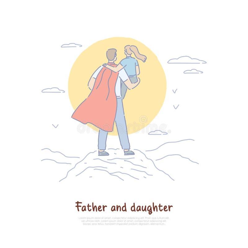 Toppen farsainnehavunge i för armar sikt tillbaka, ung man i kappa med barnet, föräldersuperhero, lyckligt faderskapbaner royaltyfri illustrationer