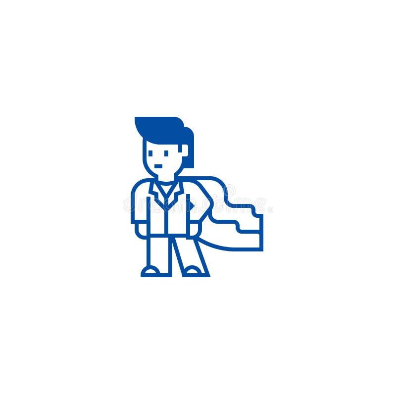 Toppen hjälte, affärsman, linje symbolsbegrepp för affärsmentor Toppen hjälte, affärsman, symbol för vektor för affärsmentor plan stock illustrationer