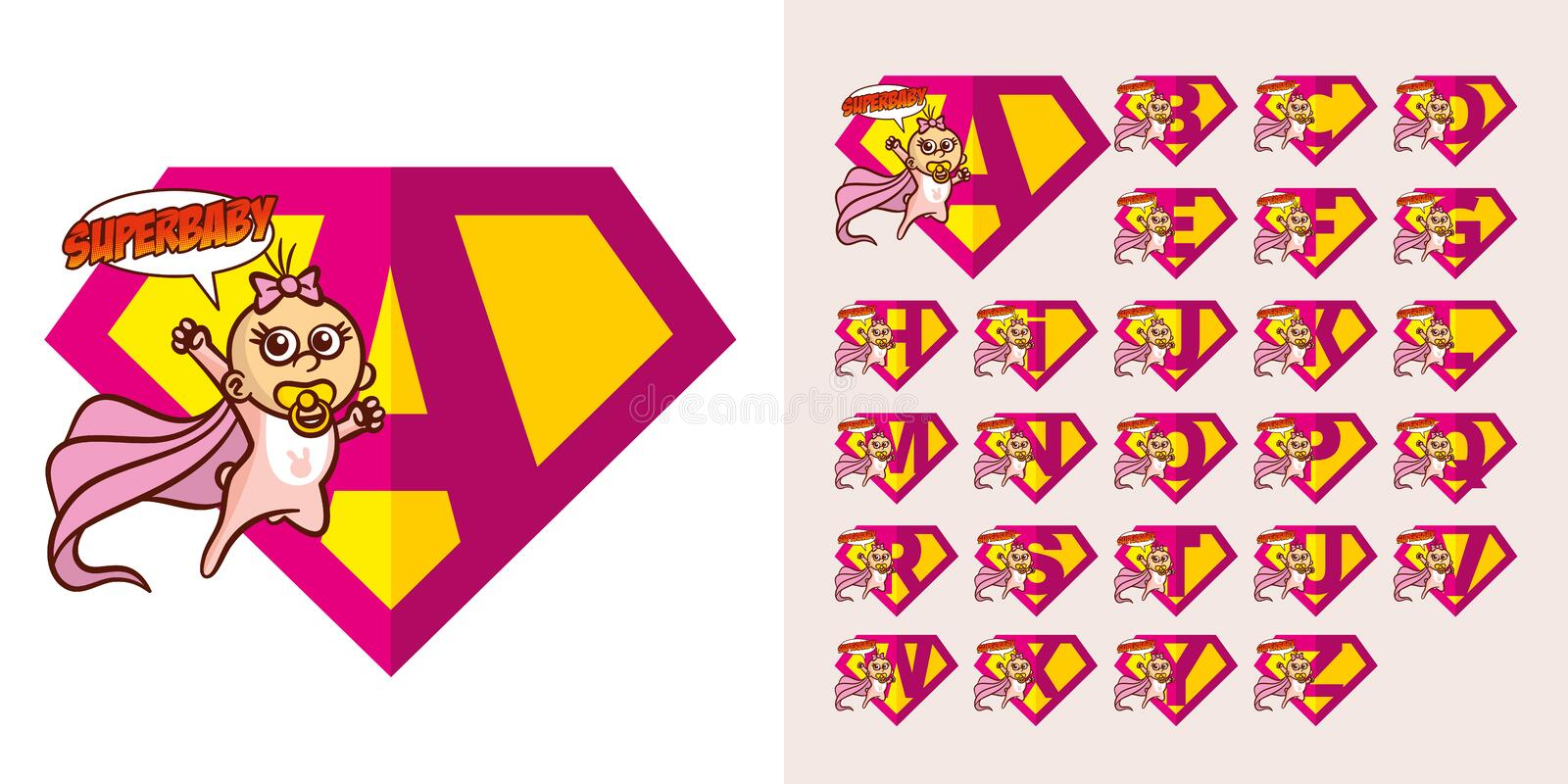 Toppen hjälte Logo Letters Supehero Alphabet stock illustrationer