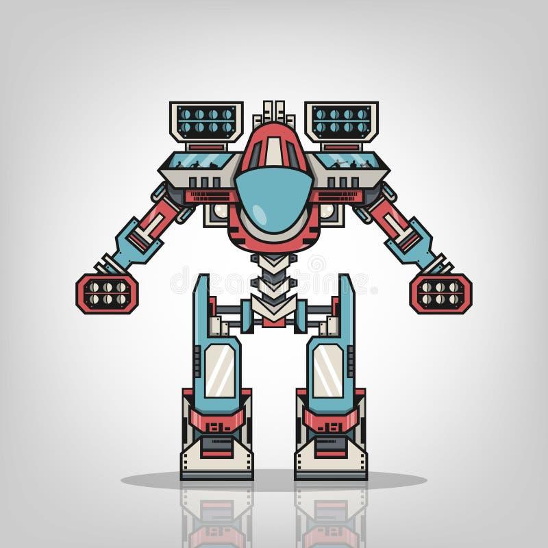 Toppen krigrobot royaltyfri illustrationer
