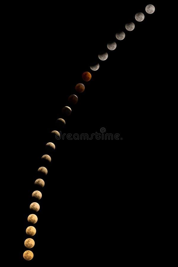 Toppen måne för blått blod, den sällsynta månförmörkelsen, mån- pheno tre arkivbild