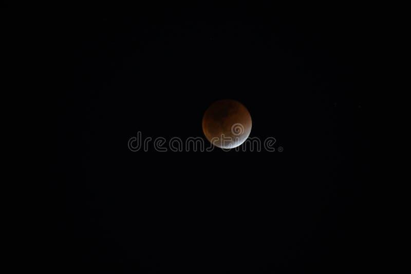 Toppen måne och månförmörkelse för blått blod arkivbild