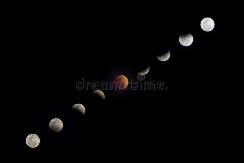 Toppen m?ne f?r bl?tt blod Måneljus ändrande av skuggan av jorden i månförmörkelse på fullmånenatt arkivfoto