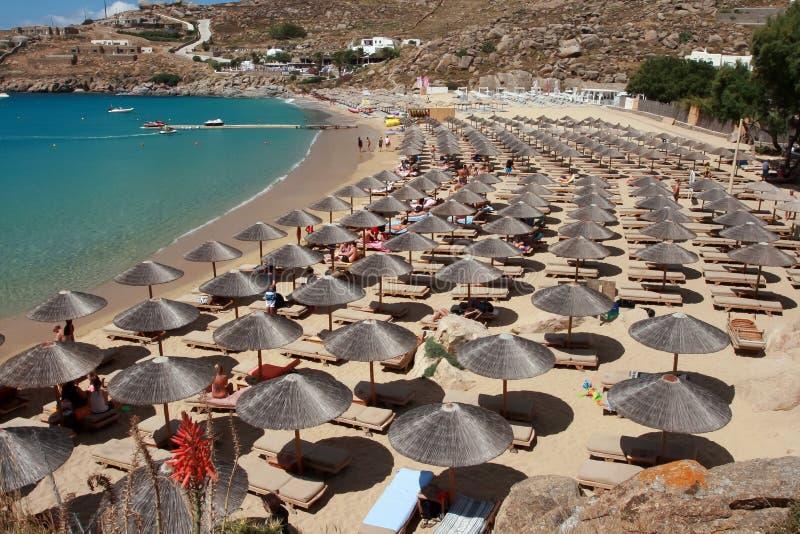 Toppen paradisstrand - Mykonos ö Grekland arkivfoto