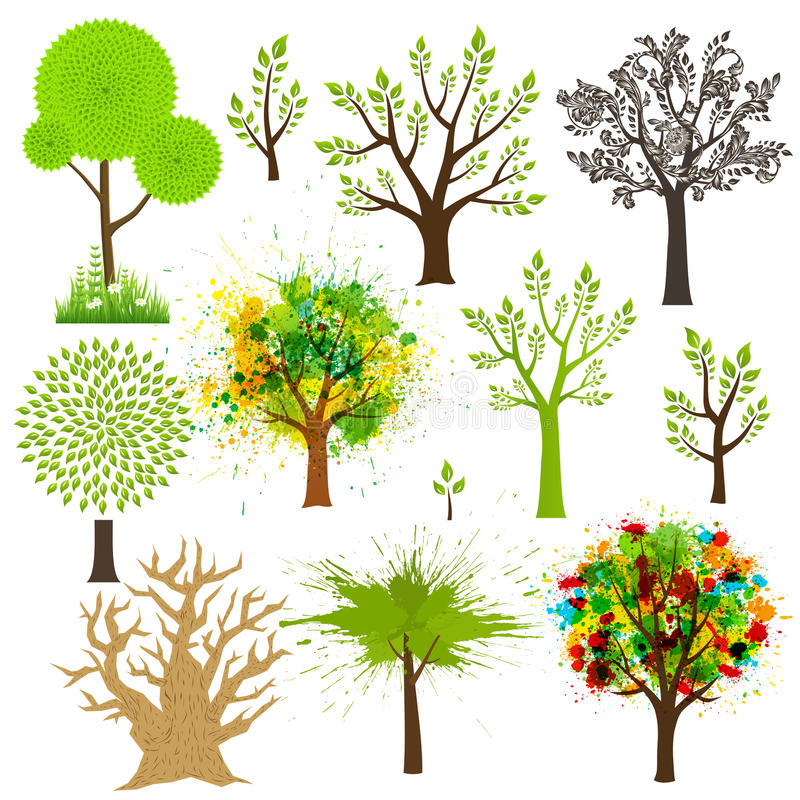 Toppen samling för träd av olika stilar stock illustrationer