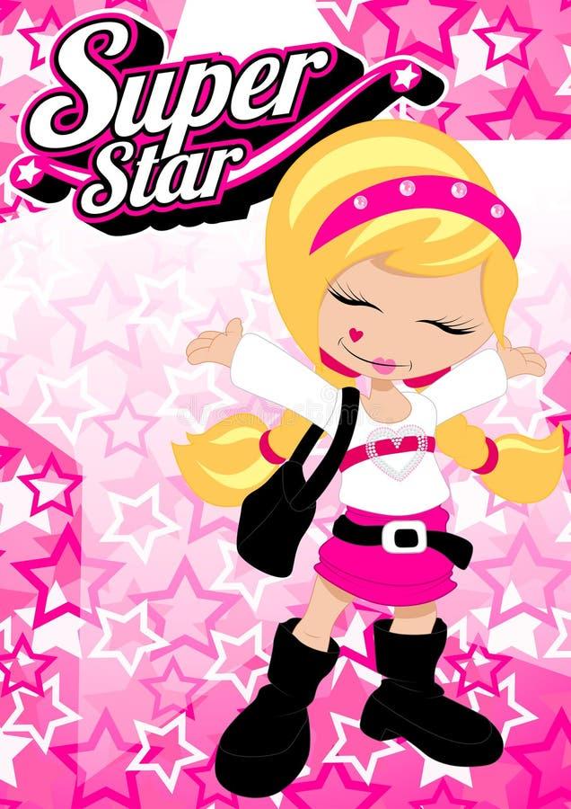 Toppen stjärnaflicka på rosa stjärnabakgrund stock illustrationer