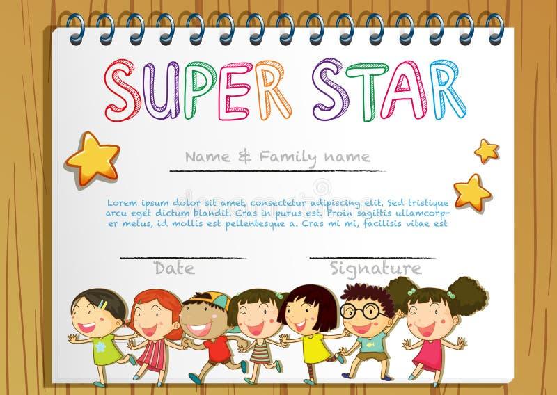 Toppen stjärnautmärkelsemall med barn i bakgrund vektor illustrationer