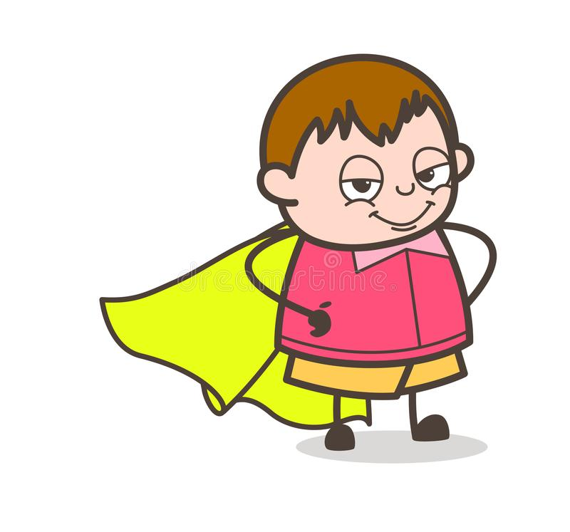 Toppen unge som ler framsidan - fet ungeillustration för gullig tecknad film royaltyfri illustrationer