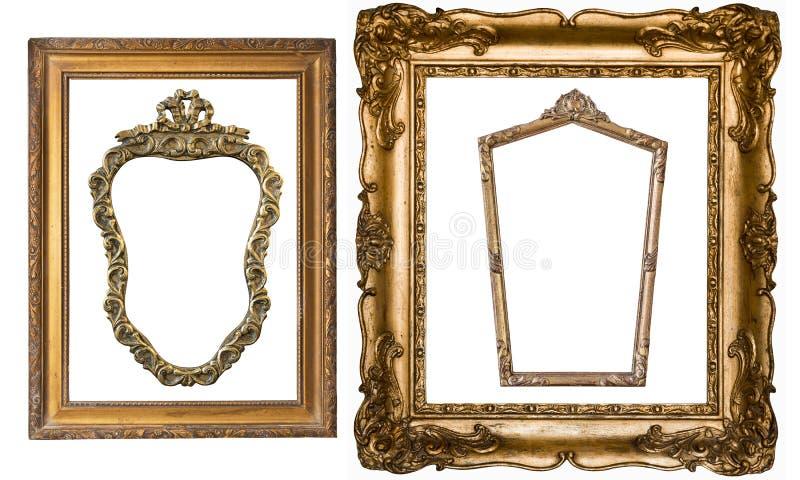 Toppen uppsättning av guld- ramar för ursnygg tappning för målningar och mirr arkivbild