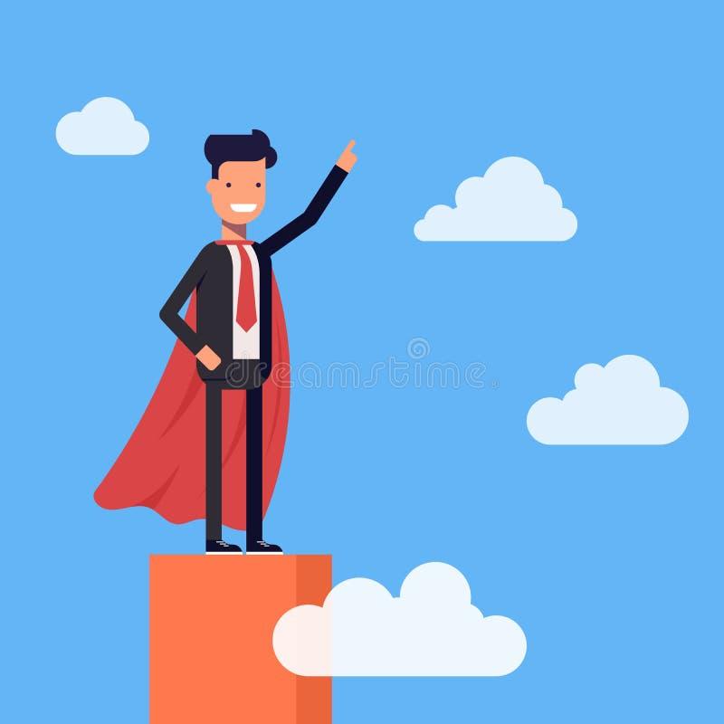 Toppet affärsman- eller chefanseende på överkanten av grafen Stålman som är hög i himlen bland molnen vektor vektor illustrationer
