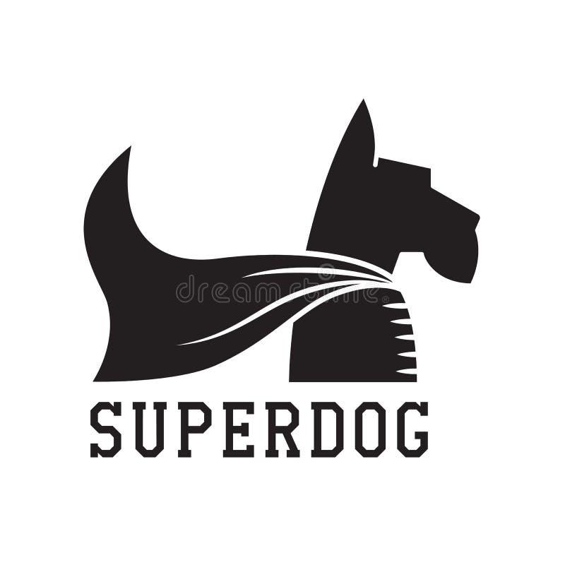 Toppet hundhjälteemblem royaltyfri illustrationer