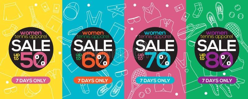 Toppet Sale 6250x2500 för kvinnatennisdräkt PIXEL stock illustrationer
