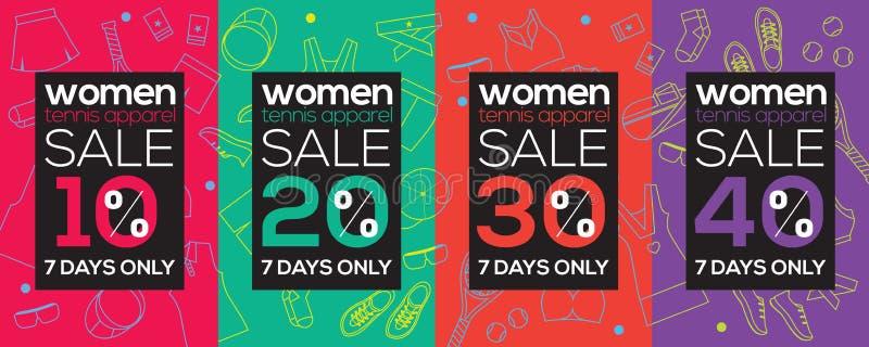 Toppet Sale 6250x2500 för kvinnatennisdräkt PIXEL royaltyfri illustrationer
