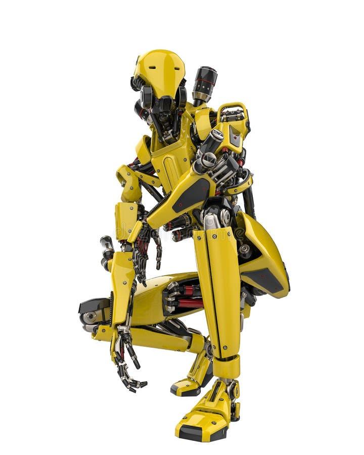 Toppet surr för mega gul robot som är klart för handling i en vit bakgrund royaltyfri illustrationer