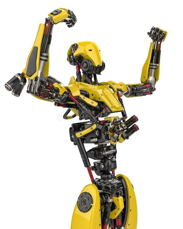 Toppet surr för mega gul robot som är segerrikt i en vit bakgrund stock illustrationer