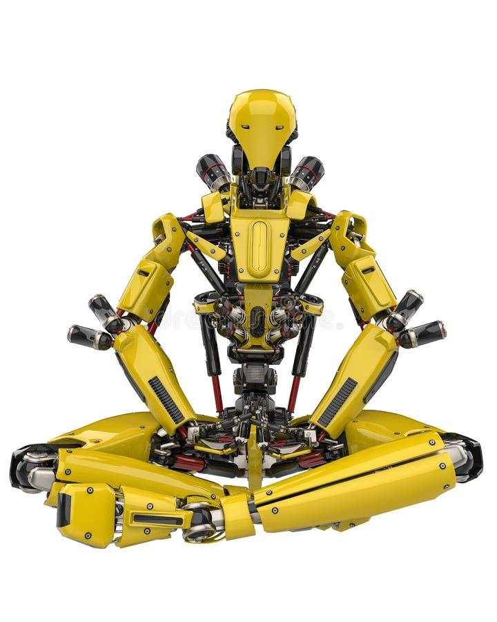 Toppet surr för mega gul robot som gör yoga i en vit bakgrund stock illustrationer