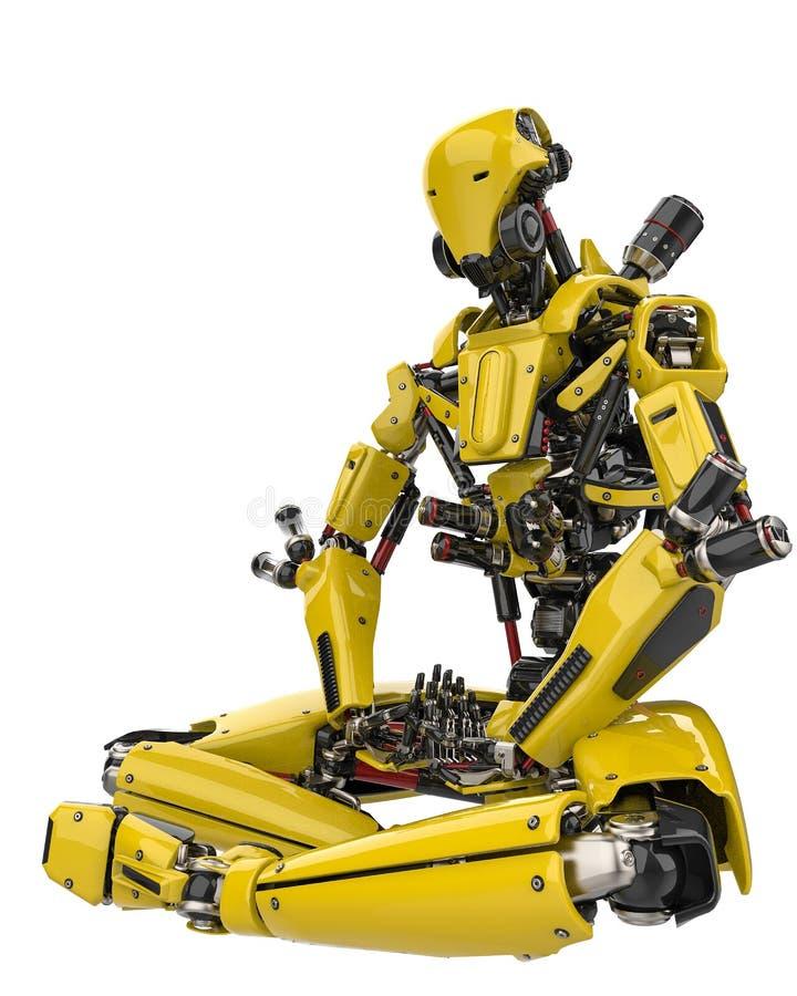 Toppet surr för mega gul robot som gör yogasidosikt i en vit bakgrund stock illustrationer