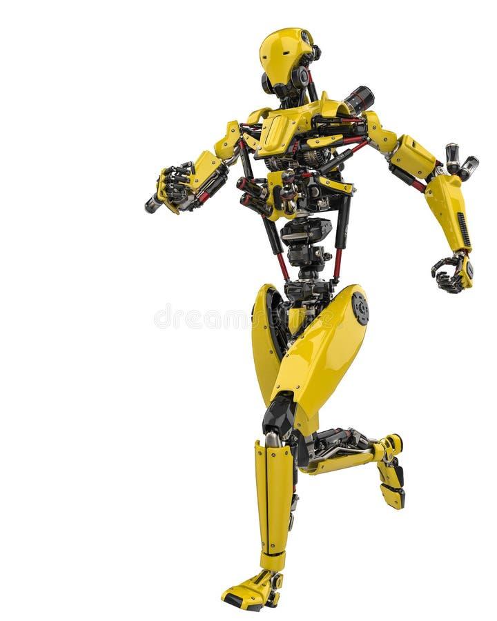 Toppet surr för mega gul robot som kör i en vit bakgrund royaltyfri illustrationer