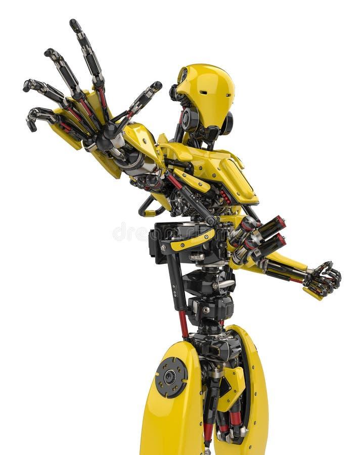 Toppet surr för mega gul robot som stoppar fienden i en vit bakgrund stock illustrationer