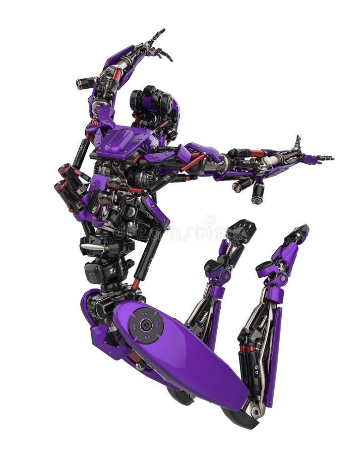 Toppet surr för mega purpurfärgad robot i en vit bakgrund stock illustrationer