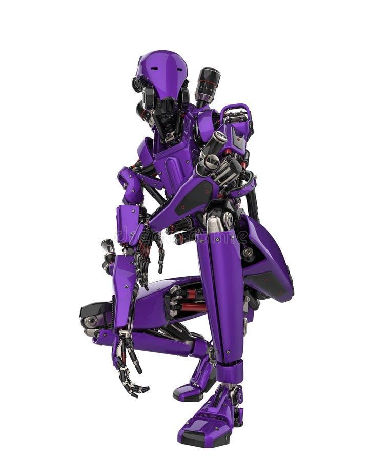 Toppet surr för mega purpurfärgad robot i en vit bakgrund vektor illustrationer