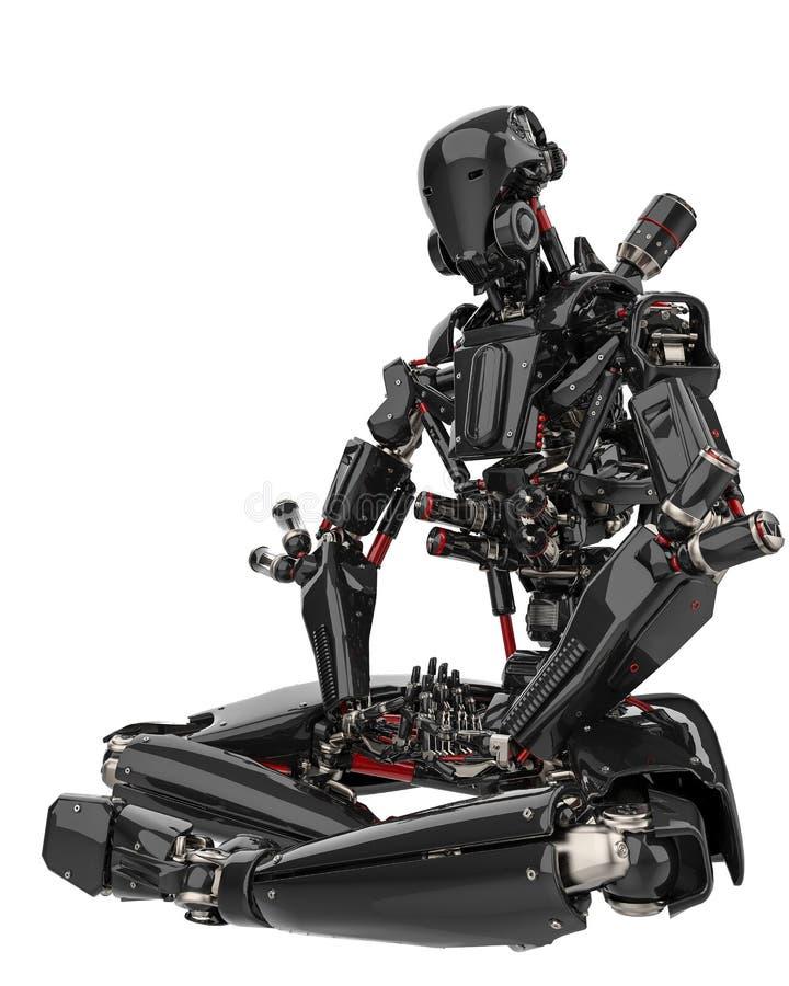Toppet surr för mega svart robot i en vit bakgrund vektor illustrationer