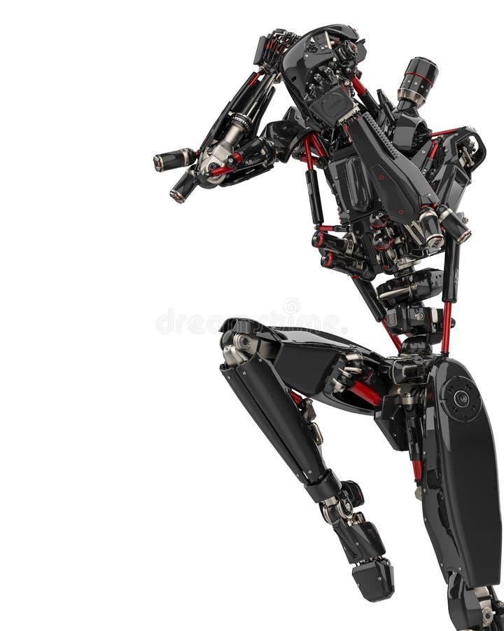 Toppet surr för mega svart robot i en vit bakgrund royaltyfri illustrationer