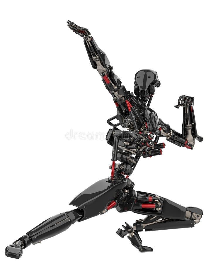 Toppet surr för mega svart robot i en vit bakgrund stock illustrationer
