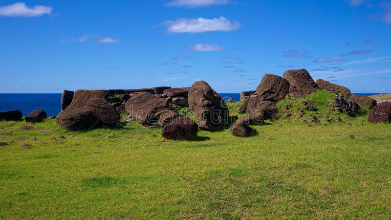 Toppled moais at Ahu Vinapu, Easter Island, Chile royalty free stock photography