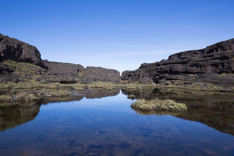 Toppmöte av monteringen Roraima, konstig värld som göras av vulkanisk svartst arkivbilder
