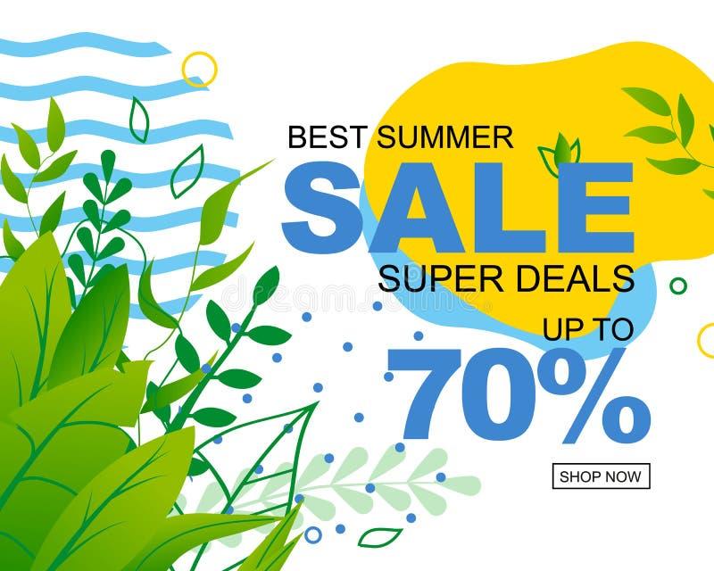 Toppna avtal erbjuder för den sommarSale annonseringen vektor illustrationer
