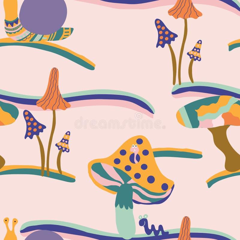 Toppna champinjoner och sniglar, i en sömlös modelldesign vektor illustrationer