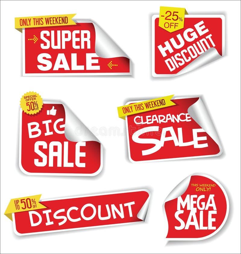 Toppna försäljningsklistermärkear och modern röd samling för etiketter stock illustrationer