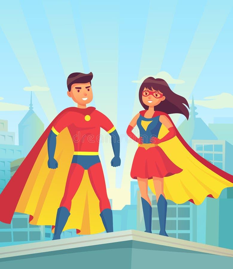 Toppna hjältar Komisk parsuperhero, tecknad filmman och kvinna i röda kappor på taket av staden Rättvisavektorbegrepp vektor illustrationer