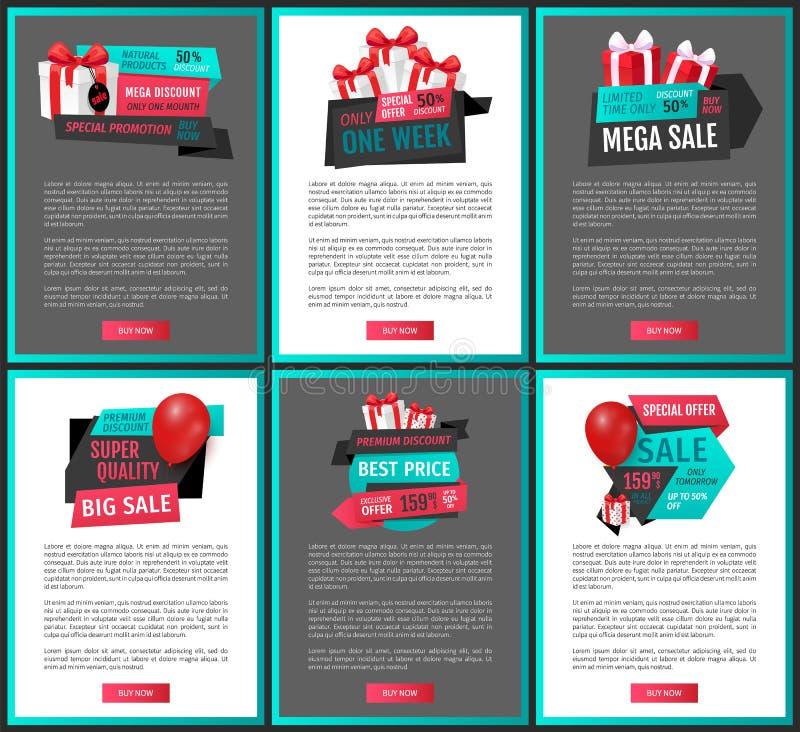 Toppna kvalitets- produkter, endast i morgon webbsidor stock illustrationer