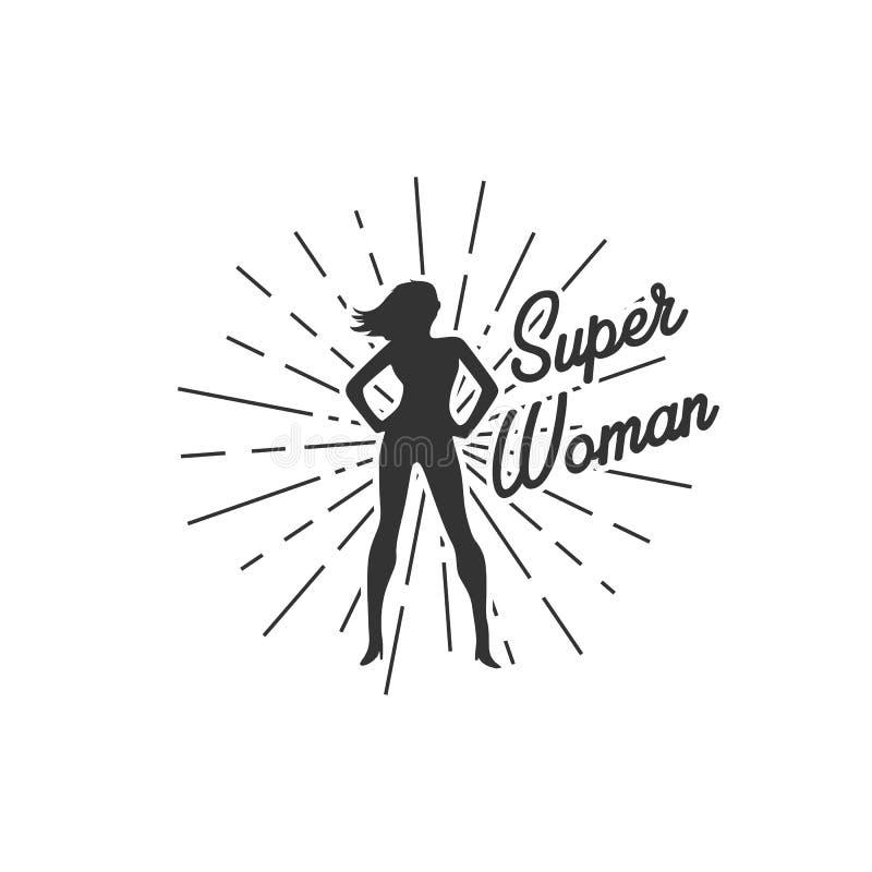 Toppna kvinnaillustrationer med sunburst vektor illustrationer