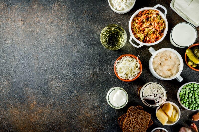 Toppna sunda Probiotic jäste matkällor royaltyfria foton