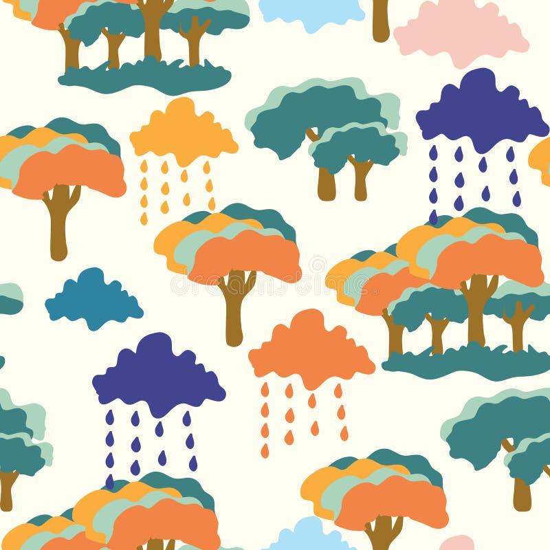 Toppna träd, moln och regn, i en sömlös modelldesign stock illustrationer