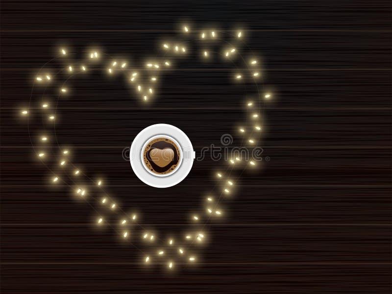 Toppvy av Latte Art Love Coffee Cup på hjärtform gjord av Lighting Garland med brun träbakgrund stock illustrationer