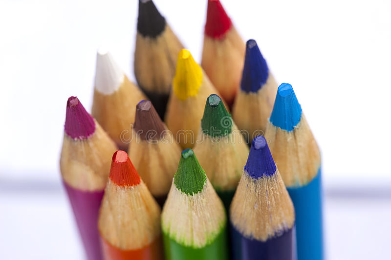 The tops of coloring pencils. stock photos