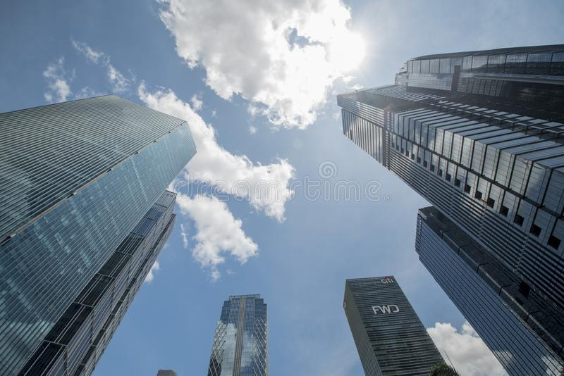 Tops of modern buildings in Sudirman district in Jakarta, Indonesia seen from the street.  stock image