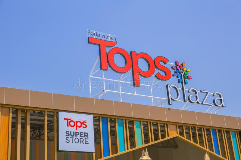 Tops Plaza Superstore Thailand new project of Central Retail Group. A Supermarket or Shopping Mall for small province: 4 March 2018, Phayao THAILAND stock photos