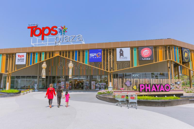 Tops Plaza Superstore Thailand new project of Central Retail Group. A Supermarket or Shopping Mall for small province: 4 March 2018, Phayao THAILAND stock image
