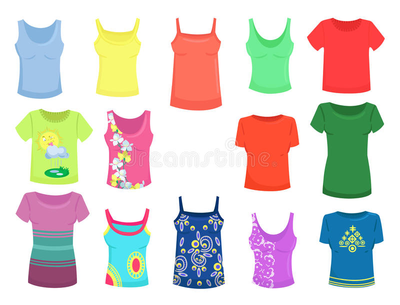 Tops and t-shirts. Set of female summer tops and t-shirts vector illustration