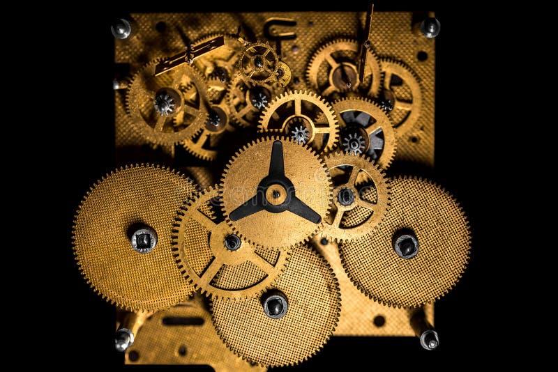 Topview, Binnenmening van een mechanisch uurwerk of beweging stock afbeeldingen