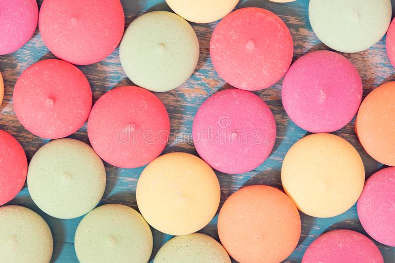 Topview, colorful and variously tasty cookies or biscuit stock photo