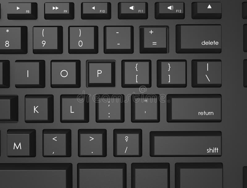 topview del ejemplo de la representaci?n 3D de un teclado Qwerty negro imagenes de archivo