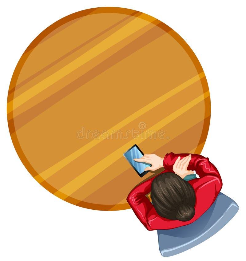Topview dziewczyna przy round stołem ilustracji