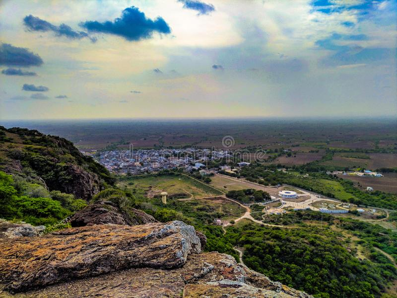 Topview from mountain. Valley, bottom, landscape, evening, sky, cloud, cloudy, small, tiny, environmental, ecology, explore, natural royalty free stock image