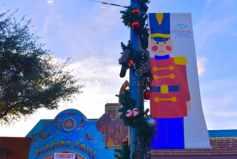Topview of nutcracker sign and colorful african style building in International Drive area. royalty free stock photography